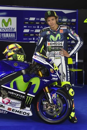 Valentino Rossi with his 2015 machine