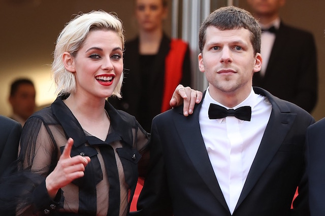 "US actress Kristen Stewart (L) and US actor Jesse Eisenberg pose as they arrive on May 11, 2016 for the screening of the film ""Cafe Society"" during the opening ceremony of the 69th Cannes Film Festival in Cannes, southern France. / AFP PHOTO / Valery HACHE"