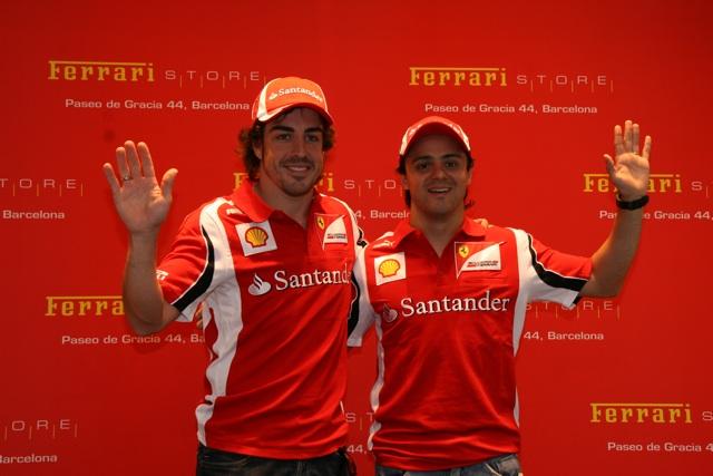 Alonso Y Massa inauguran la Ferrari Store de Paseo de Gracia